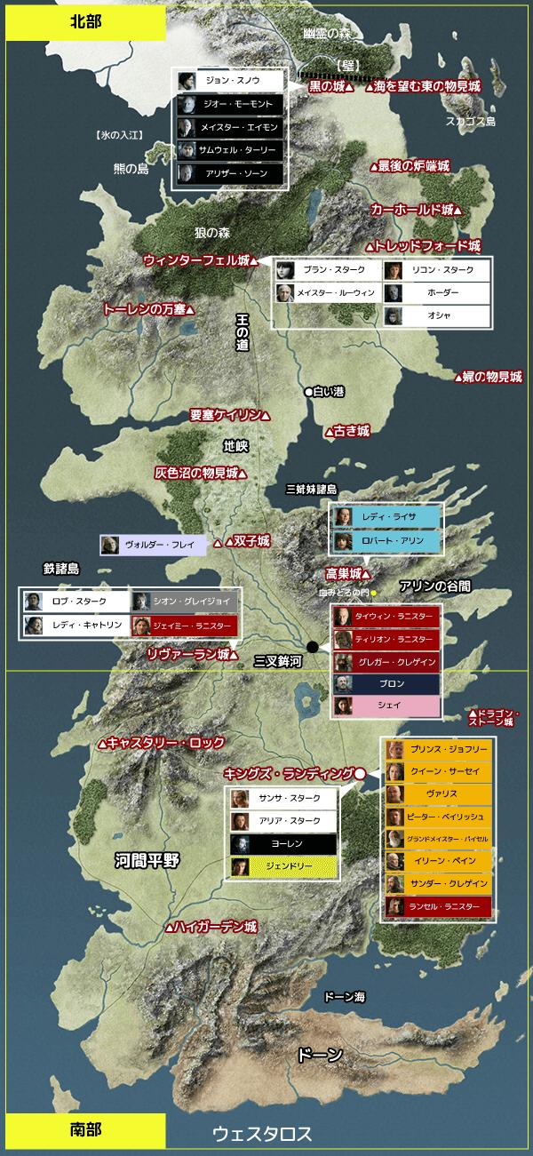 ゲーム・オブ・スローンズ シーズン1  『第10話/血と炎』地図と登場人物