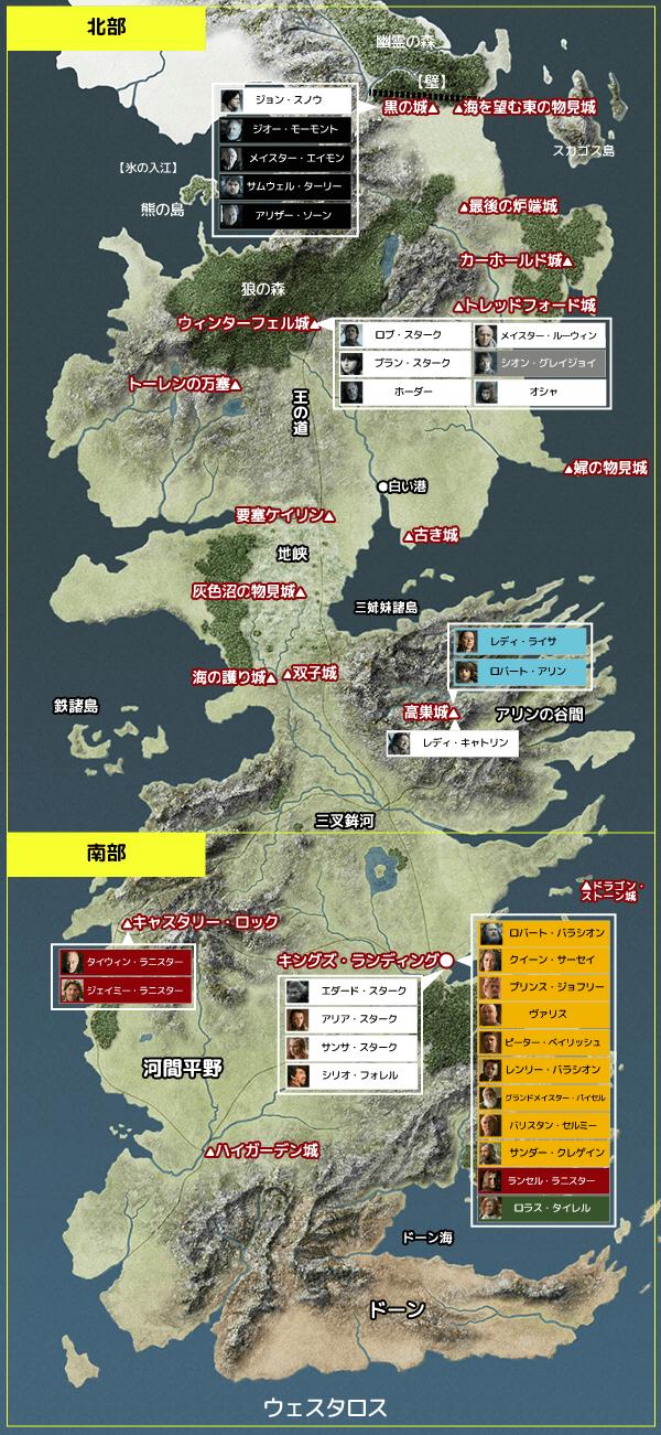 ゲーム・オブ・スローンズ シーズン1  『第7話/勝つか、死ぬか』地図と登場人物